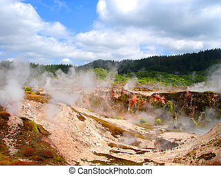 Geothermal, Activity, Hell\'s, Gate, (between, Rotorua,...