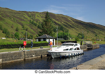 Gateway Caledonian Canal in Scotland in summer day