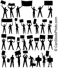 Protesters - Set of editable vector silhouettes of...