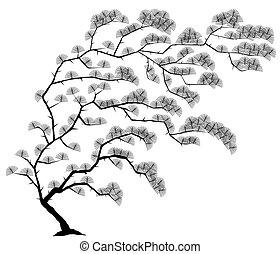 Tree - Editable vector illustration of a windblown tree with...