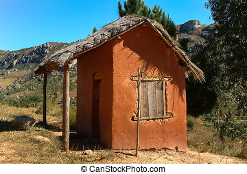 Adobe house - Typical adobe hut on yhe national highway 7...