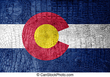 Colorado State Flag painted on luxury crocodile texture