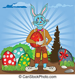 Easter bunny with eggs - Easter bunny is holding an egg,...
