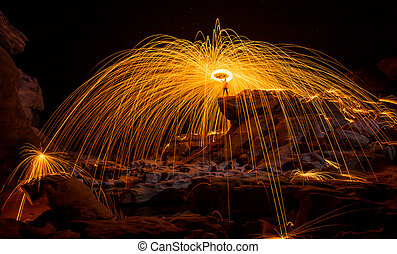 Fire show amazing at night, Sam pan bok, Ubon-ratchathani,...