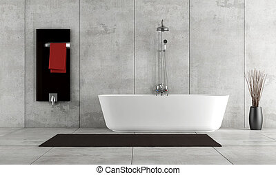 Minimalist bathroom with bathtub and shower - rendering