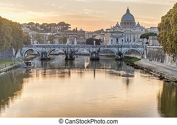 Ponte Sant'Angelo (Bridge of Hadrian) in Rome, Italy, -...