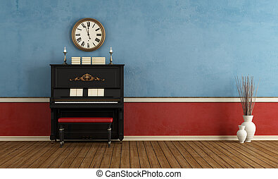 music room with  black vertical piano