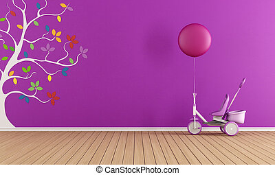 Purple child room with tricycle and colorful tree on wall