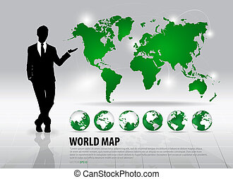 Businessman showing world map and modern green globes,...