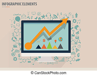 Infographic design template - modern computer with business...