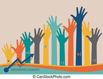 Infographic design template - colorful raised hands. Vector...