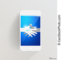 Modern touchscreen device with hands. Vector illustration.