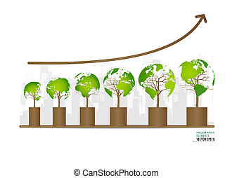 Green economy concept : Graph of growing sustainable...