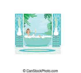 girl relaxes in the bath in a tropical spa