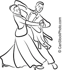ballroom dancing - black and white vector outlines - elegant...