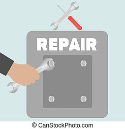 Hand with wrench. Repair icon