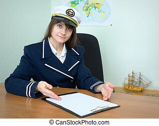 Girl - sea captain with the tablet - Girl - the sea captain...
