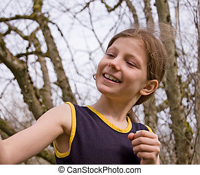 Cute Girl Smiling Looking Sideways