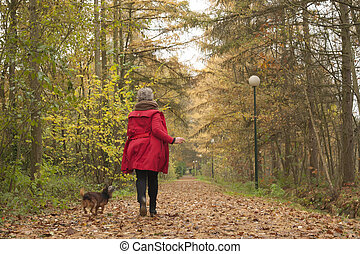 Running with the dog in the forest - Middle aged woman in...