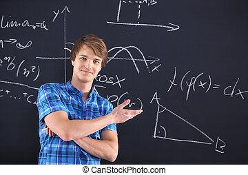 Student at the blackboard