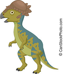 Pachycephalosaurus cartoon - Vector illustration of...
