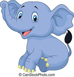 Cute baby elephant cartoon sitting - Vector illustration of...