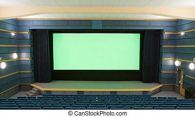 Cinema interior - Empty cinema auditorium with line of blue...