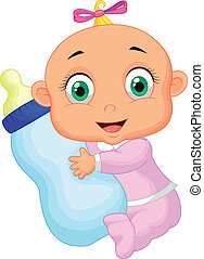 Baby girl cartoon holding milk bott - Vector illustration of...