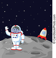 Astronaut cartoon landing on the mo - Vector illustration of...