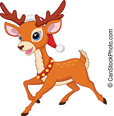 Cute deer cartoon with fed hat - Vector illustration of Cute...