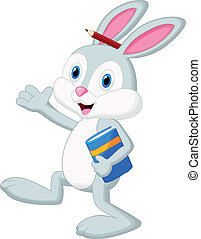 Rabbit cartoon holding book