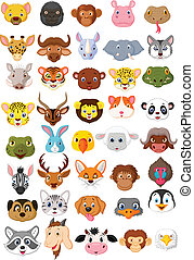 Cartoon animal head collection set - Vector illustration of...