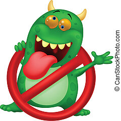 Cartoon Stop virus - green virus in - Vector illustration of...