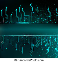 Circuit board background with blue electronics illustration...