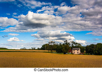 Farm fields and house in rural York County, Pennsylvania.