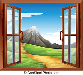 An open window across the mountain - Illustration of an open...