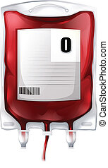 A blood bag with type O blood - Illustration of a blood bag...