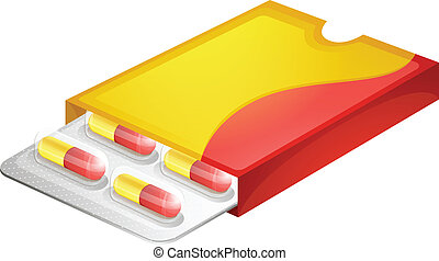 A pack of capsules - Illustration of a pack of capsules on a...