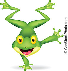 Funny frog cartoon standing on its - Vector illustration of...