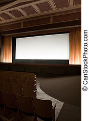 Cinema interior - Empty retro cinema auditorium in cubism...