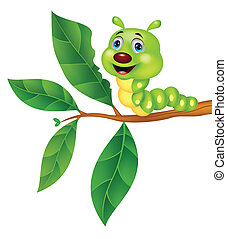 Cute caterpillar cartoon eating lea - Vector illustration of...