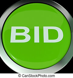 Bid Button Shows Online Auction Or Bidding - Bid Button...