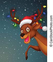 Cute deer cartoon with bulb and red