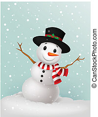 Christmas Snowman cartoon wearing a - Vector illustration of...