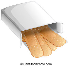 A box of band-aids - Illustration of a box of band-aids on a...