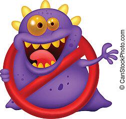 Cartoon Stop virus - purple virus i - Vector illustration of...