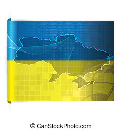 Ukraine vector map with the flag background