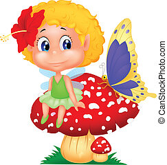 Baby fairy elf cartoon sitting on m