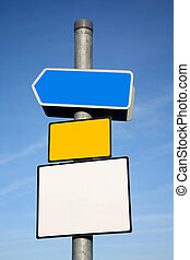 Signpost with 3 blank signs