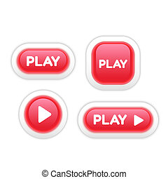 Set of Play Buttons Isolated on White